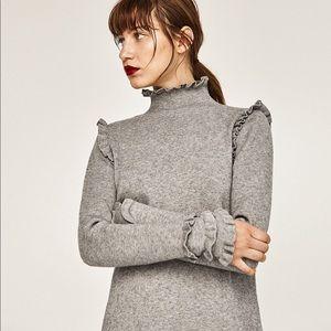 Zara sweater dress with frills